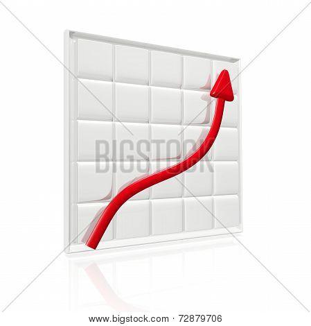 Business Growth Arrow On Grid Chart 3D