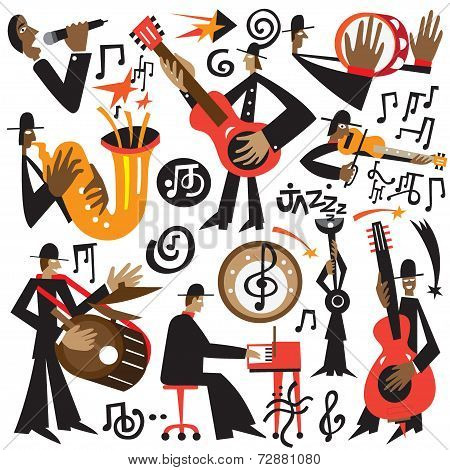 jazz musicians - vector cartoons