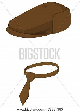 Brown Man's Cap With Tie Isolated On White Background