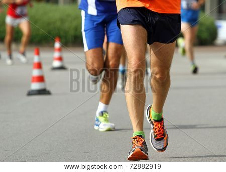 Athlete's Legs With Sneakers Run Fast
