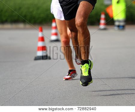 Marathoner Runs Very Fast For The Paved Road In The Final Sprint