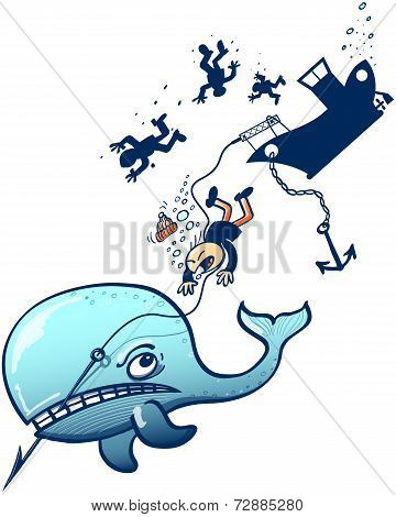 Furious blue whale attacking whalers
