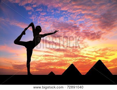 Yoga Near Egyptian Pyramids