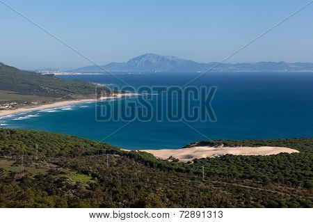Bolonia Beach, Morroco Mountains In Background