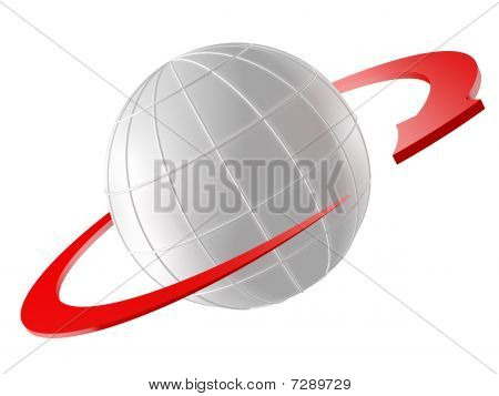 3D Rendered Globe With Red Arrow As Orbit
