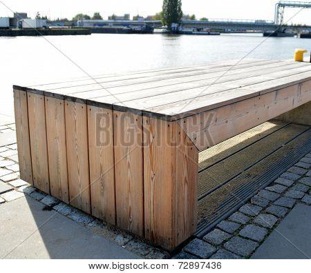 urban wooden bench