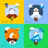 Natural disaster flat set with tornado blizzard fire tsunami isolated vector illustration poster