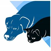 Corner vector illustration of stylized cat and dog silhouettes. poster