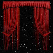 Digital 3D Illustration of a Curtain with Stars poster