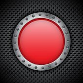 Red chrome button on metal circular grid. EPS10 vector poster