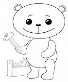 Cartoon, toy bear worker with hammer and toolbox, contours. Vector poster