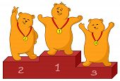 Sports cartoon, teddy bears sportsmans stand on a podium. Vector poster