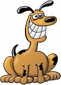 Grinning brown dog with a long neck while seated as for waiting for its master with great excitation poster