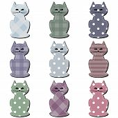 scrapbook cats on white background vector illustration poster