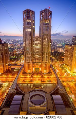 TOKYO, JAPAN - DECEMBER 22, 2012: Tokyo Metropolitan Government Building. The building houses the headquarters of the Tokyo Metropolitan Government.