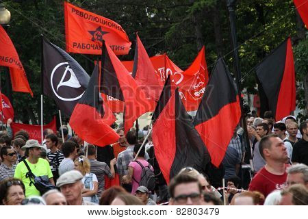 Flags Of Anarchists And Left On Oppositional Meeting