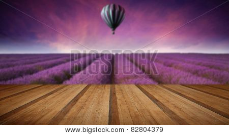 Stunning Lavender Field Landscape Summer Sunset With Hot Air Balloon With Wooden Planks Floor