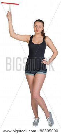 Woman holding squeegee