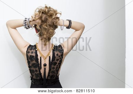 Fashion Photo Of Young Lady In Elegant Evening Dress With Jewelry On White Background