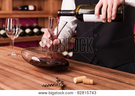 Sommelier At Work.