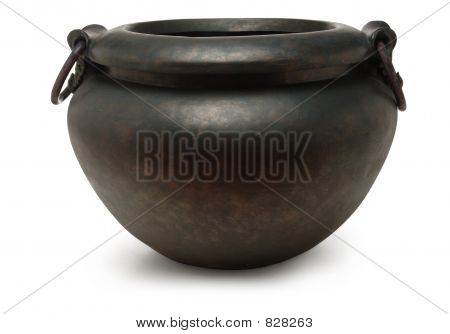 iron cauldron on white