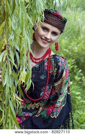 Happy  Slavonic Woman Near The Willow Tree
