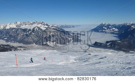 View from the Pizol ski area towards Sargans. poster