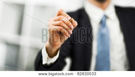 Businessman writing drawing on the screen