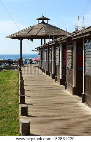 Wooden Sidewalk on Cavancha Beach in Iquique, Chile