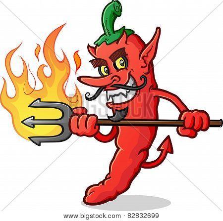 Hot Chili Pepper Devil Cartoon Character Stab