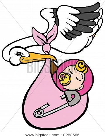Stork Delivering Baby Girl