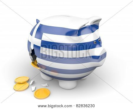 Greece economy and finance concept for bankruptcy, unemployment, and national debt crisis