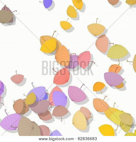 Stack Of Scattered Colored Parasols