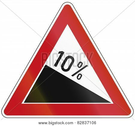 German sign warning about incline or decline or 10% specified percentage. poster