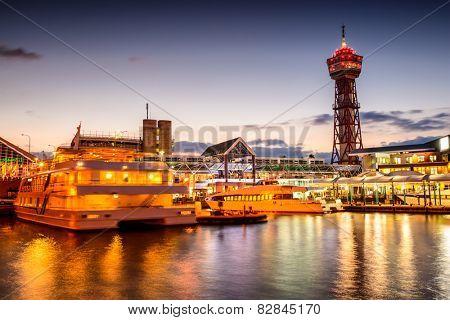 Fukuoka, Japan at bayside place skyline.