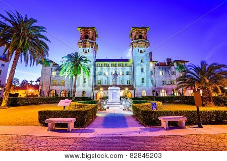 St. Augustine, Florida, USA at  City Hall and Alcazar Plaza. poster