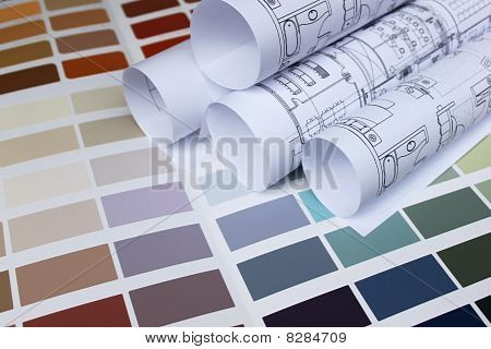 Blueprint Of Home With Background Of Paint Color Palette