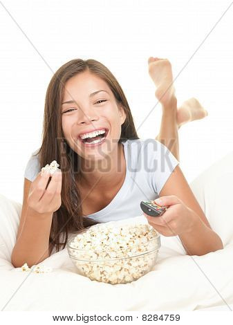 Woman Watching Movie Laughing