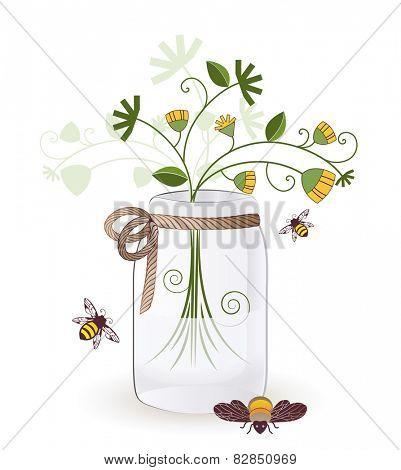 mason jar wild flowers bees