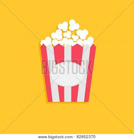 Popcorn Package Bag With Empty Label Tag. Cinema Icon In Flat Dsign Style.