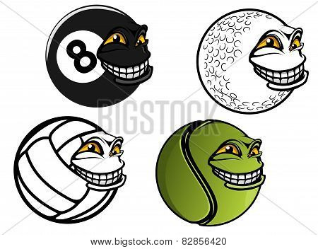 Tennis, golf, volleyball, billiard cartoon balls