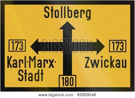 Direction Sign To Stollberg 1956