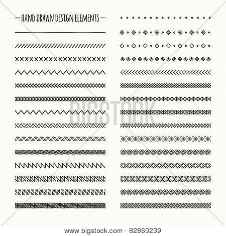 Hand drawn vector line border set and scribble design element. Geometric monochrome vintage fashion