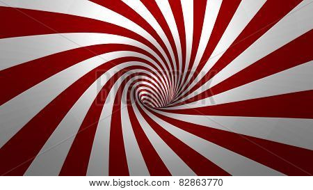 Hypnotic spiral or swirl making red and white background in 3D