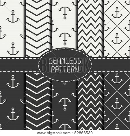 Set of monochrome marine geometri seamless pattern with anchor. Collection of paper for scrapbook. V