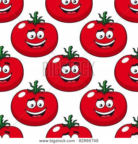 Cartoon smiling red tomatoes seamless pattern