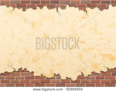 Concrete Wall And Bricks Vector Grunge Background