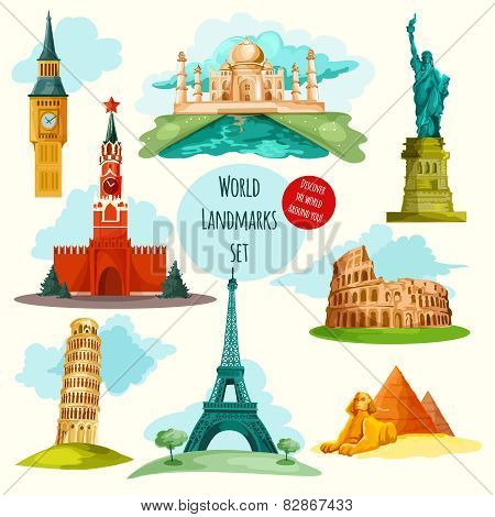 World landmarks decorative icons set with eiffel tower big ben coliseum isolated vector illustration poster