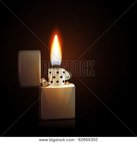 Realistic silver gasoline lighter with burning flame on dark background vector illustration poster
