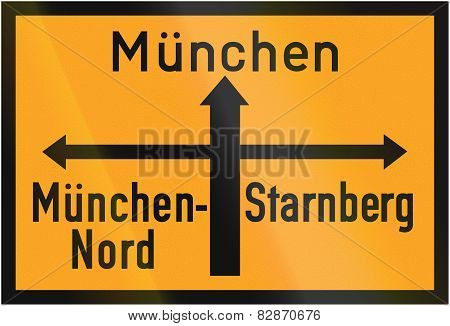 Direction Sign To Munich 1936